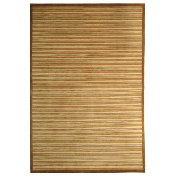 Safavieh Hand-knotted Tibetan Contemporary Striped Light Brown Wool Rug (6' x 9')