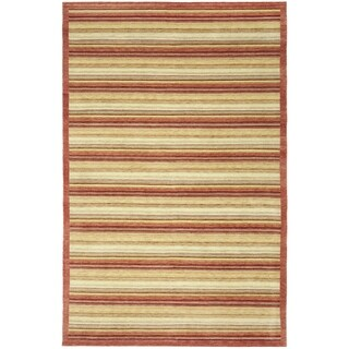 Safavieh Hand-knotted Tibetan Contemporary Striped Rust Wool Rug (6' x 9')