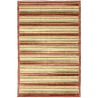Safavieh Hand-knotted Tibetan Contemporary Striped Rust Wool Rug (8' x 10')