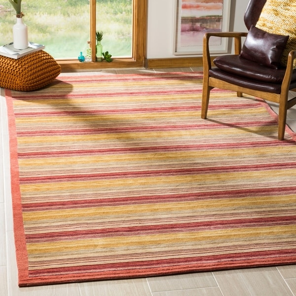 Safavieh Hand-knotted Tibetan Contemporary Striped Rust Wool Rug - 9' x 12'