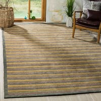 Safavieh Hand-knotted Tibetan Contemporary Striped Green Wool Rug - 6' x 9'