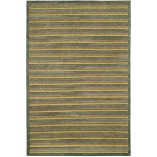 Safavieh Hand-knotted Tibetan Contemporary Striped Green Wool Area Rug (8' x 10')