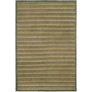 Safavieh Hand-knotted Tibetan Contemporary Striped Green Wool Area Rug (9' x 12')