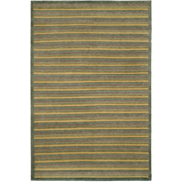 Safavieh Hand-knotted Tibetan Contemporary Striped Green Wool Area Rug - 9' x 12'