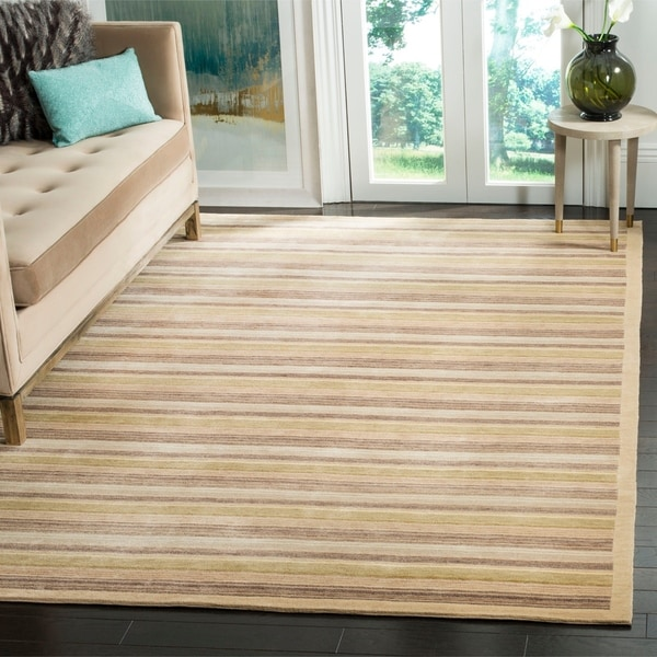 Safavieh Hand-knotted Tibetan Contemporary Striped Beige Wool Area Rug - 8' x 10'