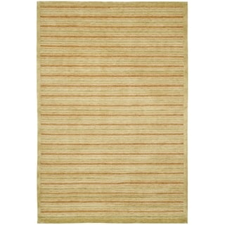 Safavieh Hand-knotted Tibetan Contemporary Striped Olive/ Rust Wool Rug (6' x 9')
