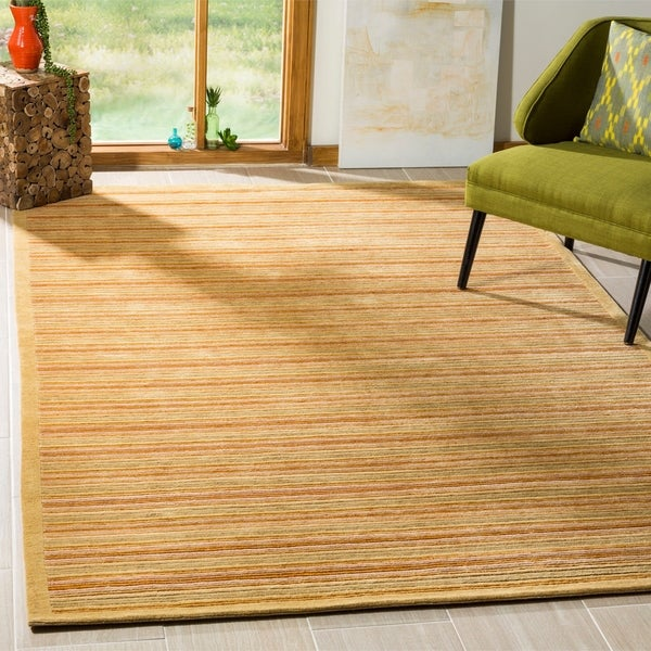 Safavieh Hand-knotted Tibetan Contemporary Striped Olive/ Rust Wool Area Rug - 9' x 12'