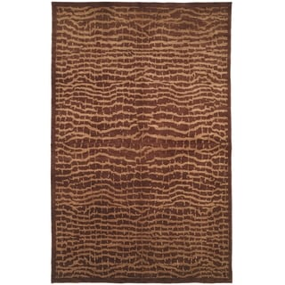 Safavieh Hand-knotted Tibetan Contemporary Brown/ Beige Wool Rug (6' x 9')