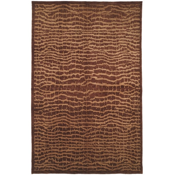Safavieh Hand-knotted Tibetan Contemporary Brown/ Beige Wool Rug - 8' x 10'