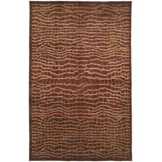 Safavieh Hand-knotted Tibetan Contemporary Brown/ Beige Wool Rug (9' x 12')