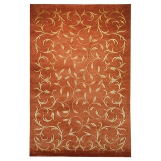 Safavieh Hand-knotted Tibetan Scrolling Vines Rust/ Gold Wool/ Silk Rug (6' x 9')