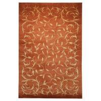 Safavieh Hand-knotted Tibetan Scrolling Vines Rust/ Gold Wool/ Silk Rug - 6' x 9'