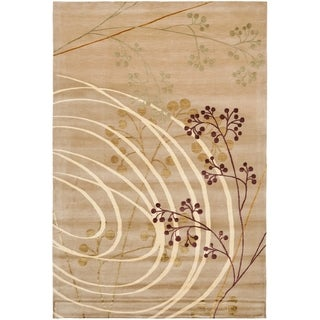 Safavieh Hand-knotted Tibetan Abstract Honey Wool/ Silk Rug (9' x 12')
