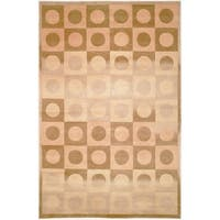 Safavieh Hand-knotted Tibetan Geometric Beige/ Brown Wool Rug - 9' x 12'