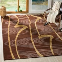 Safavieh Hand-knotted Tibetan Abstract Multi Wool/ Silk Rug - brown - 9' x 12'