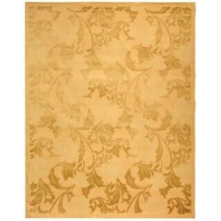 Safavieh Hand-knotted Tibetan Floral Beige Wool/ Silk Rug (6' x 9')