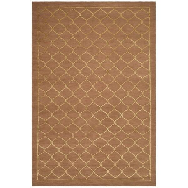Safavieh Hand-knotted Tibetan Geometric Rust Wool/ Silk Rug (5' x 7'6)