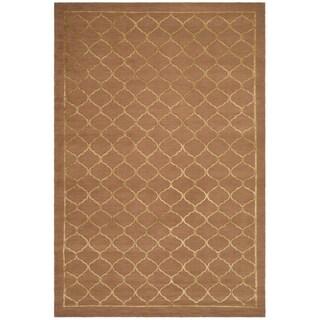 Safavieh Hand-knotted Tibetan Geometric Rust Wool/ Silk Rug (6' x 9')