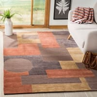 Safavieh Hand-knotted Tibetan Modern Abstract Vegetable Dye Multicolored Wool Rug - 8' x 10'