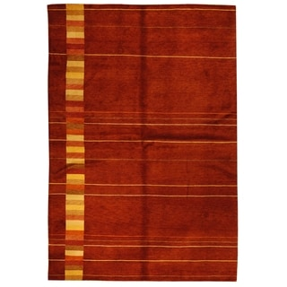 Safavieh Hand-knotted Tibetan Southwestern Abstract Vegetable Dye Maroon Wool Rug (6' x 9')
