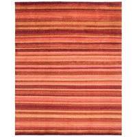 Safavieh Hand-knotted Tibetan Striped Vegetable Dye Tibetan Striped Rust/ Gold Wool Rug - 8' x 10'