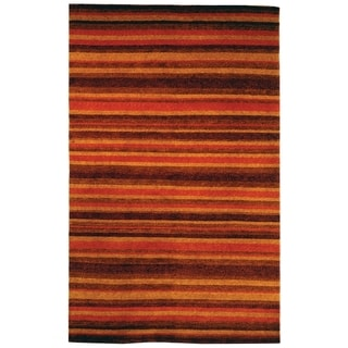 Safavieh Hand-knotted Tibetan Striped Vegetable Dye Tibetan Striped Rust/ Gold Wool Rug (9' x 12')