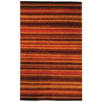 Safavieh Hand-knotted Tibetan Striped Vegetable Dye Tibetan Striped Rust/ Gold Wool Rug - 9' x 12'