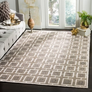 Safavieh Hand-knotted Tibetan Modern Geometric Buckwheat/ Antique White Linen Rug (9' x 12')