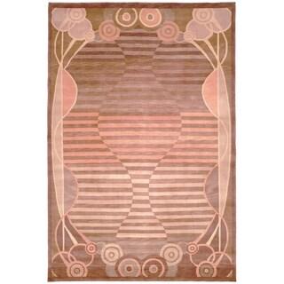 Safavieh Hand-knotted Tibetan Pink Geometric Wool Rug (6' x 9')