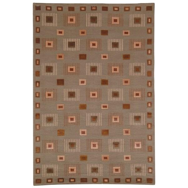 Safavieh Hand-knotted Tibetan Geometric Green Wool Area Rug - 8' x 10'