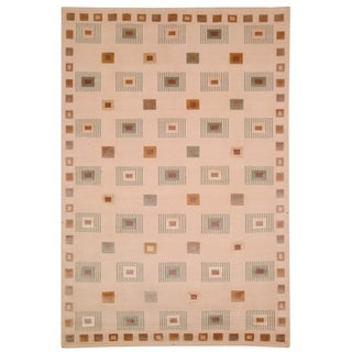 Safavieh Hand-knotted Tibetan Geometric Ivory Wool Rug (5' x 7'6)