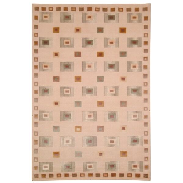 Safavieh Hand-knotted Tibetan Geometric Ivory Wool Area Rug - 9' x 12'