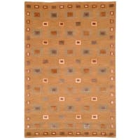 Safavieh Hand-knotted Tibetan Geometric Gold Wool Area Rug - 6' x 9'