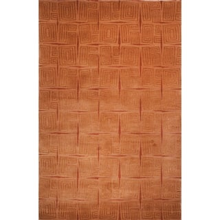Safavieh Hand-knotted Tibetan Contemporary Abstract Gold/ Rust Wool/ Silk Rug (9' x 12')