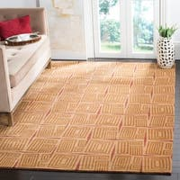 Safavieh Hand-knotted Tibetan Contemporary Abstract Gold/ Rust Wool/ Silk Rug - 9' X 12'