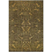 Safavieh Hand-knotted Tibetan Iron Scrolls Green/ Gold Wool/ Silk Rug - 10' x 14'