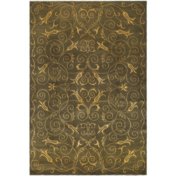 Safavieh Hand-knotted Tibetan Iron Scrolls Green/ Gold Wool/ Silk Rug - 10' x 14'