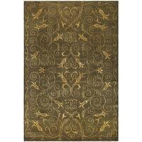 Safavieh Hand-knotted Tibetan Iron Scrolls Green/ Gold Wool/ Silk Rug - 6' x 9'