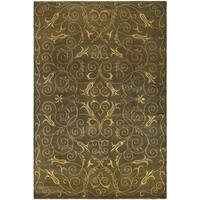 Safavieh Hand-knotted Tibetan Iron Scrolls Green/ Gold Wool/ Silk Rug - 8' x 10'