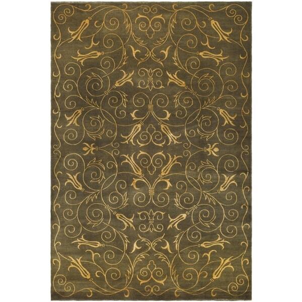 Safavieh Hand-knotted Tibetan Iron Scrolls Green/ Gold Wool/ Silk Rug - 9' x 12'