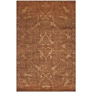 Safavieh Hand-knotted Tibetan Iron Scrolls Rust/ Gold Wool/ Silk Rug (10' x 14')