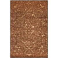 Safavieh Hand-knotted Tibetan Iron Scrolls Rust/ Gold Wool/ Silk Rug - 5' x 7'6