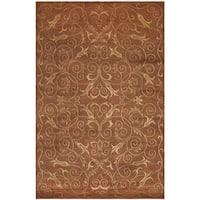 Safavieh Hand-knotted Tibetan Iron Scrolls Rust/ Gold Wool/ Silk Rug - 8' x 10'