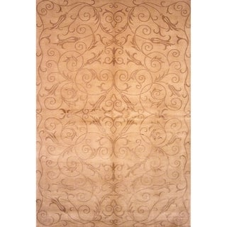 Safavieh Hand-knotted Tibetan Iron Scrolls Light Gold Wool/ Silk Rug (6' x 9')