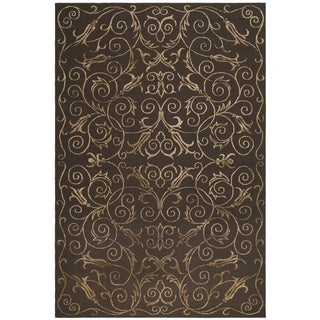 Safavieh Hand-knotted Tibetan Iron Scrolls Chocolate Wool/ Silk Rug (10' x 14')