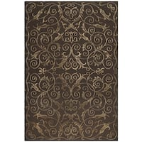 Safavieh Hand-knotted Tibetan Iron Scrolls Chocolate Wool/ Silk Rug - 10' x 14'