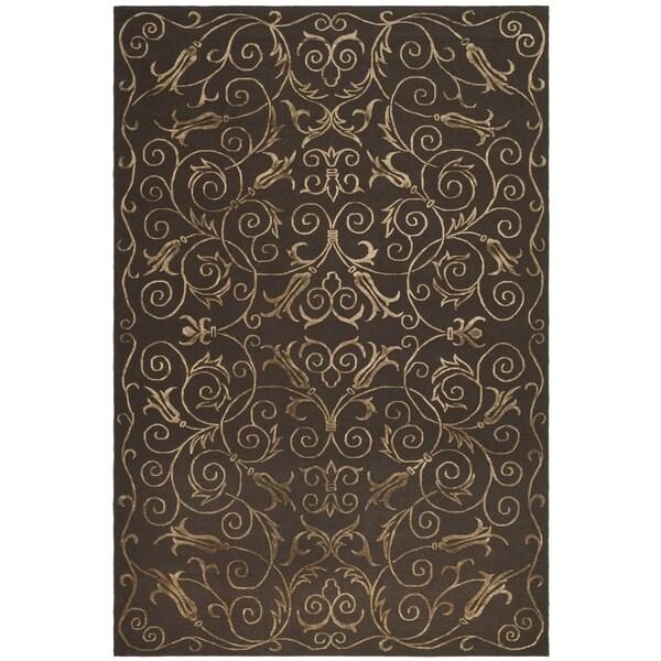 Safavieh Hand-knotted Tibetan Iron Scrolls Chocolate Wool/ Silk Rug - 10' x 14'