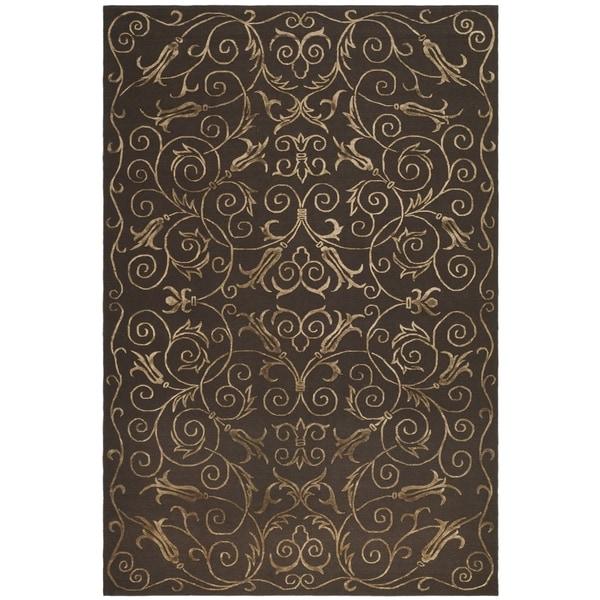 Safavieh Hand-knotted Tibetan Iron Scrolls Chocolate Wool/ Silk Rug - 8' x 10'