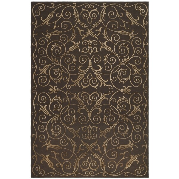 Safavieh Hand-knotted Tibetan Iron Scrolls Chocolate Wool/ Silk Rug - 9' x 12'