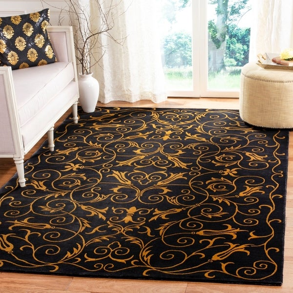 Safavieh Hand-knotted Tibetan Iron Scrolls Chocolate Wool/ Silk Rug - 9' x 12'